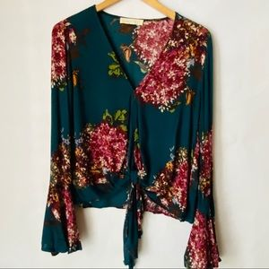 Love Stitch floral tie front top